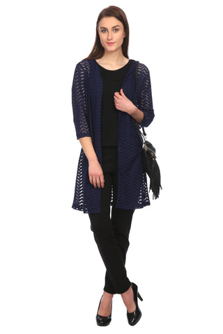 Navy Blue Net Solid Shrug