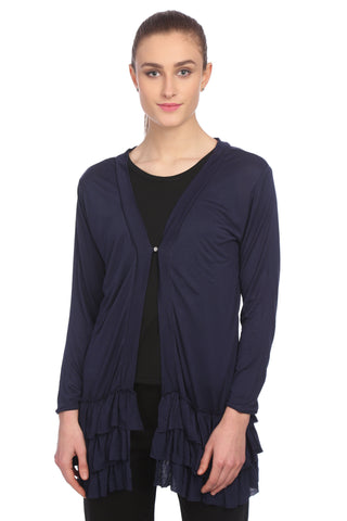 Navy Blue Viscose Solid Shrug With Frill