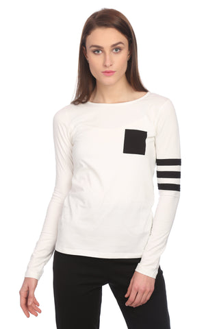 White and Black Slim Fit Solid Top