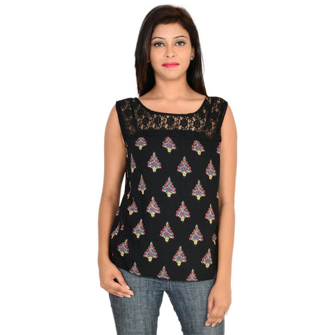 Sleeveless Black Rayon Top