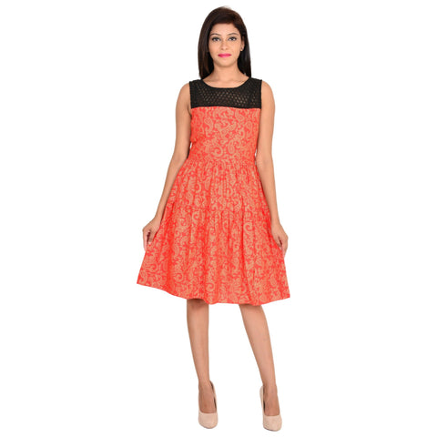Sleeveless Orange Rayon dress