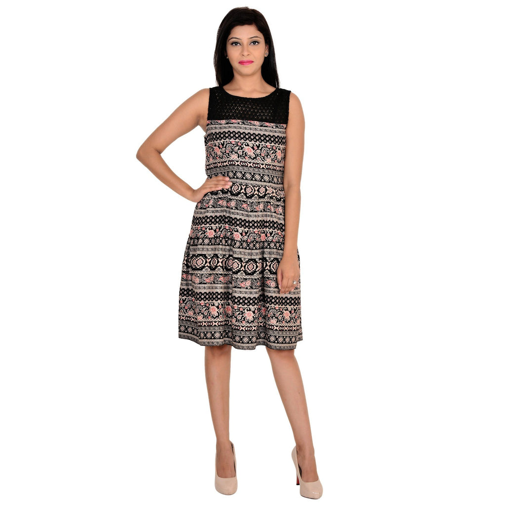 Printed Sleeveless Black Dress