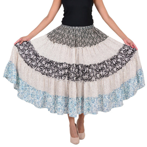 Women's Casual Printed Multicolor Rayon Skirt