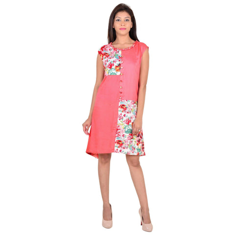 Women's Casual Floral Print Sleeveless Pink Rayon Dress