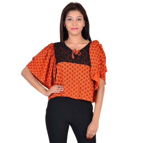 Women's Casual Half-Sleeve Floral Print Orange Rayon Cotton Top