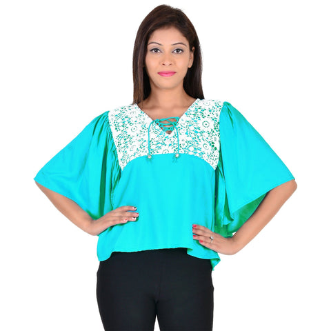 Women's Casual Half-Sleeve Turquoise Rayon Cotton Top