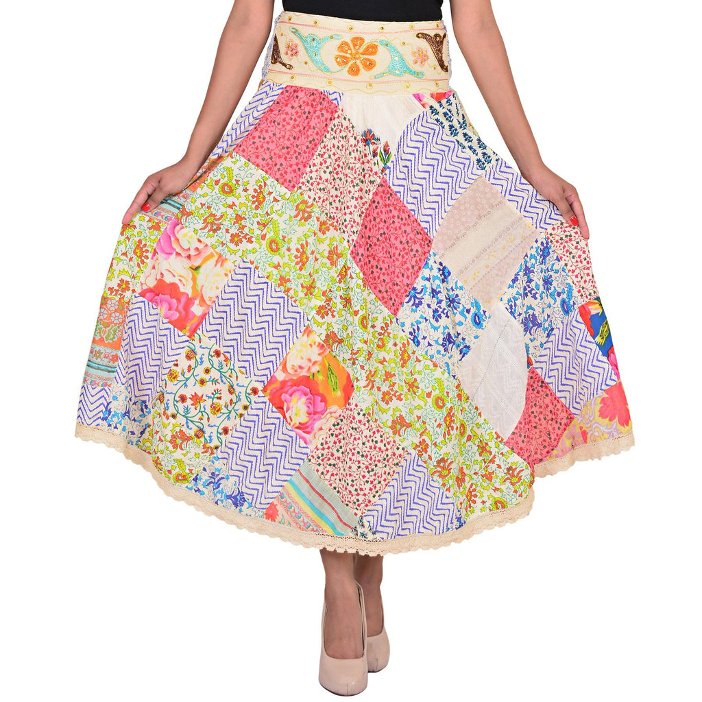 Women's Casual Patch Work Multicolor Cotton Skirt