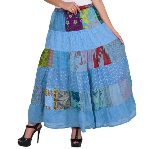 Women's Casual Blue A-line Cotton Skirt