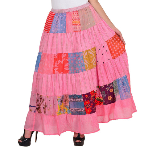 Women's Casual Pink A-line Cotton Skirt