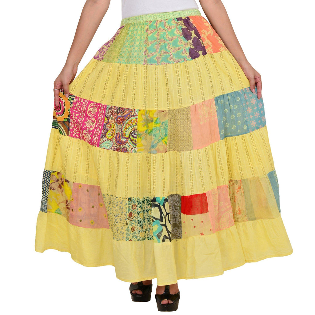 Women's Yellow Printed A-line Cotton Skirt