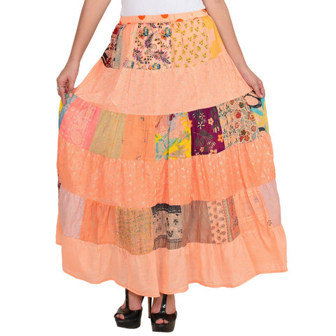 Women's Casual Peach A-line Cotton Skirt