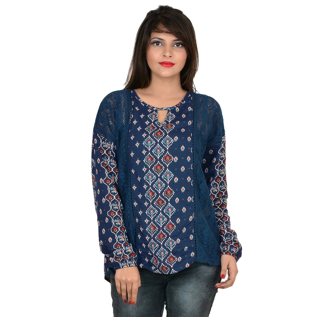 Women's Blue Lace Details Full-Sleeve Top