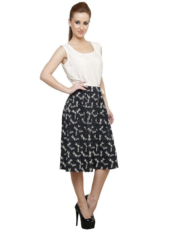 Fit And Flare Botanical Prints A line Off White Crepe Dress