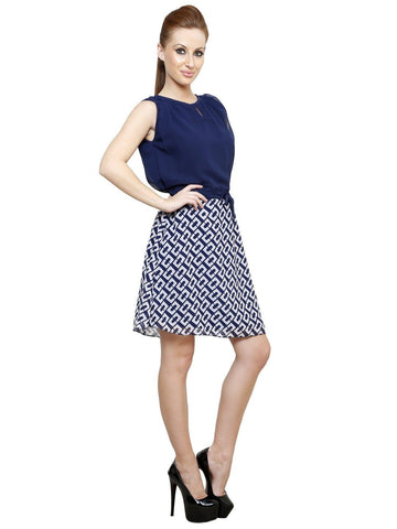 Solid Fit and Flare Color Block A line Blue Georgette Dress