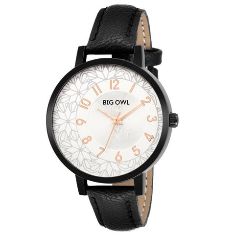 Carlie Black Leather Texture Dial Watch