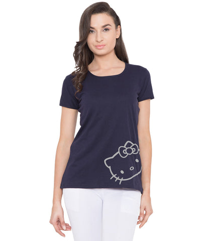 Women's Navy Blue Slim Fit Printed T-Shirt