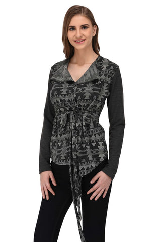 Charcoal Grey Textured Terry Shrug for Women