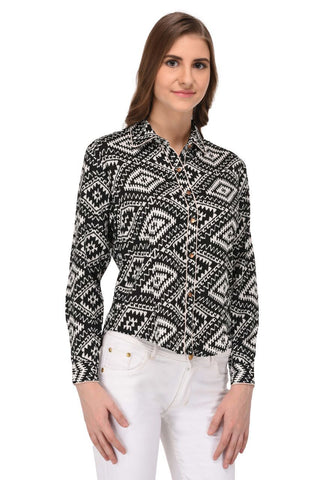 Black and White Abstract Print Shirt for Women