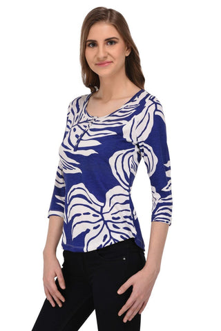 Blue and White Botanical Top for Women