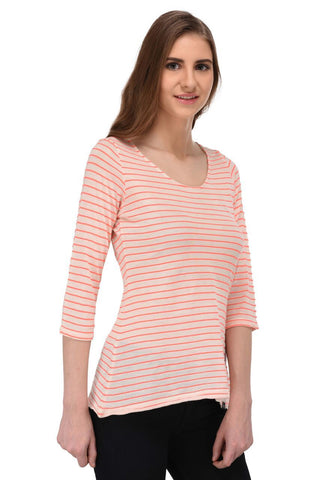 Coral Striped Off White Top for Women