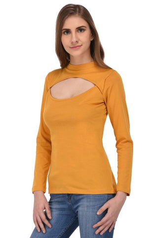 Mustard Yellow Cutout Front Top for Women
