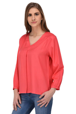 Coral Front Pleat Top for Women