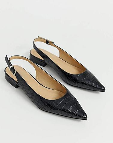 Black Croc Pointed Flats