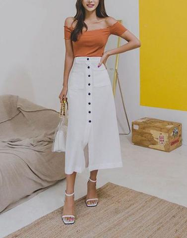 Button Up Midi White Skirt