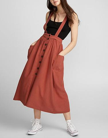 Brown Suspenders Bae Skirt