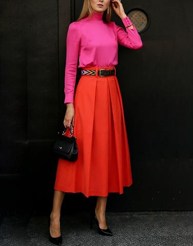 Classic Vibrant Orange Skirt