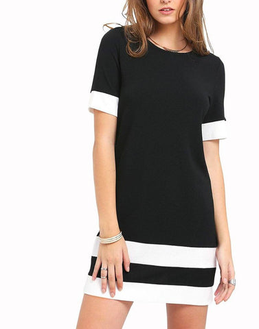 Imported Knit Black And White Dress