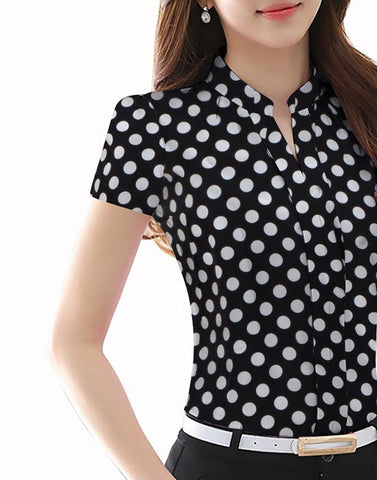 Black Buttoned Polka Top