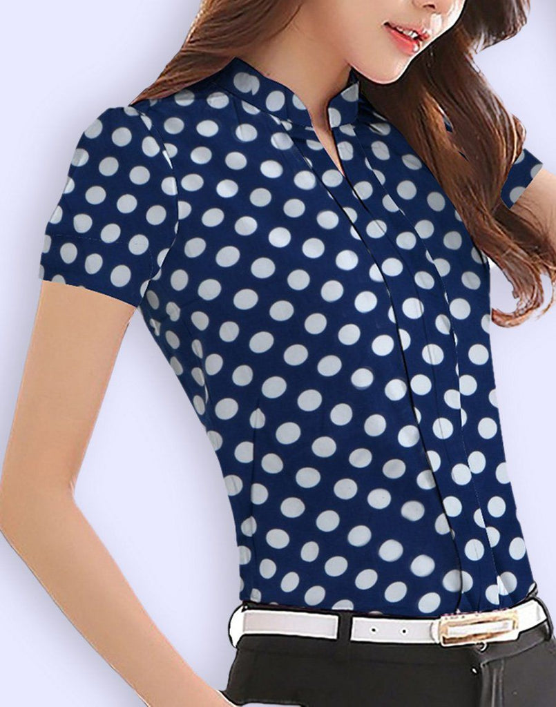 Navy Blue Polka Top