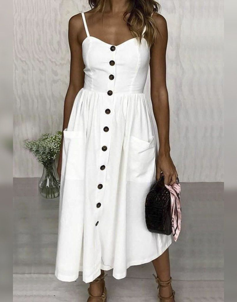 White Buttoned Midi Dress