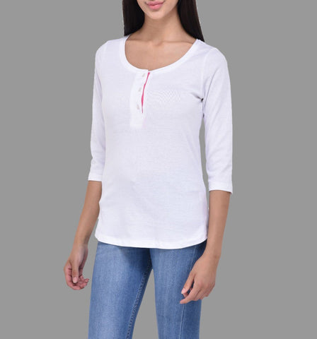 White Henley Neck Tee with Pink Placket