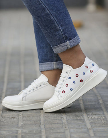 White Stoned Patterned Sneakers