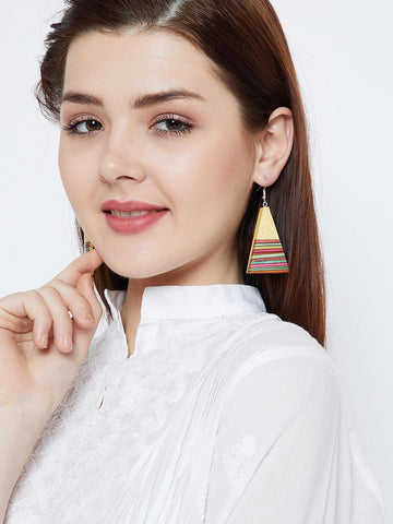 Wooden Multicolored Stripped Earrings