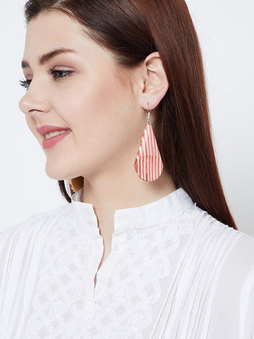 Wooden Striped Earrings