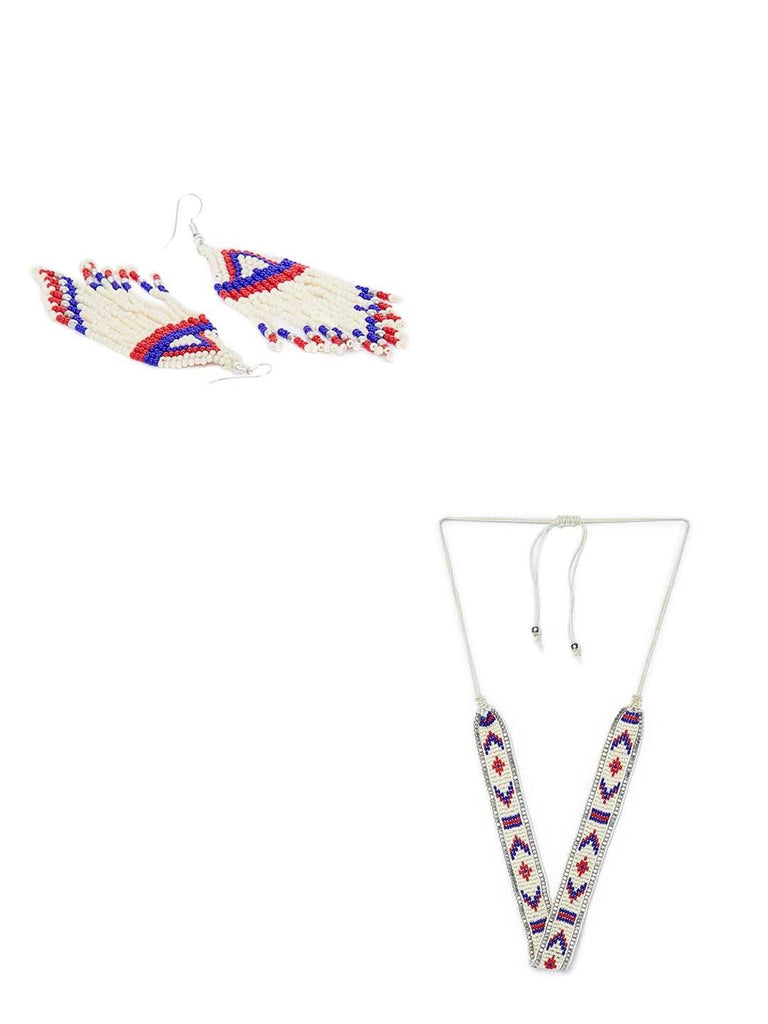 Delicate White Seed Beads Handmade Jewellery Earrings and Necklace Combo
