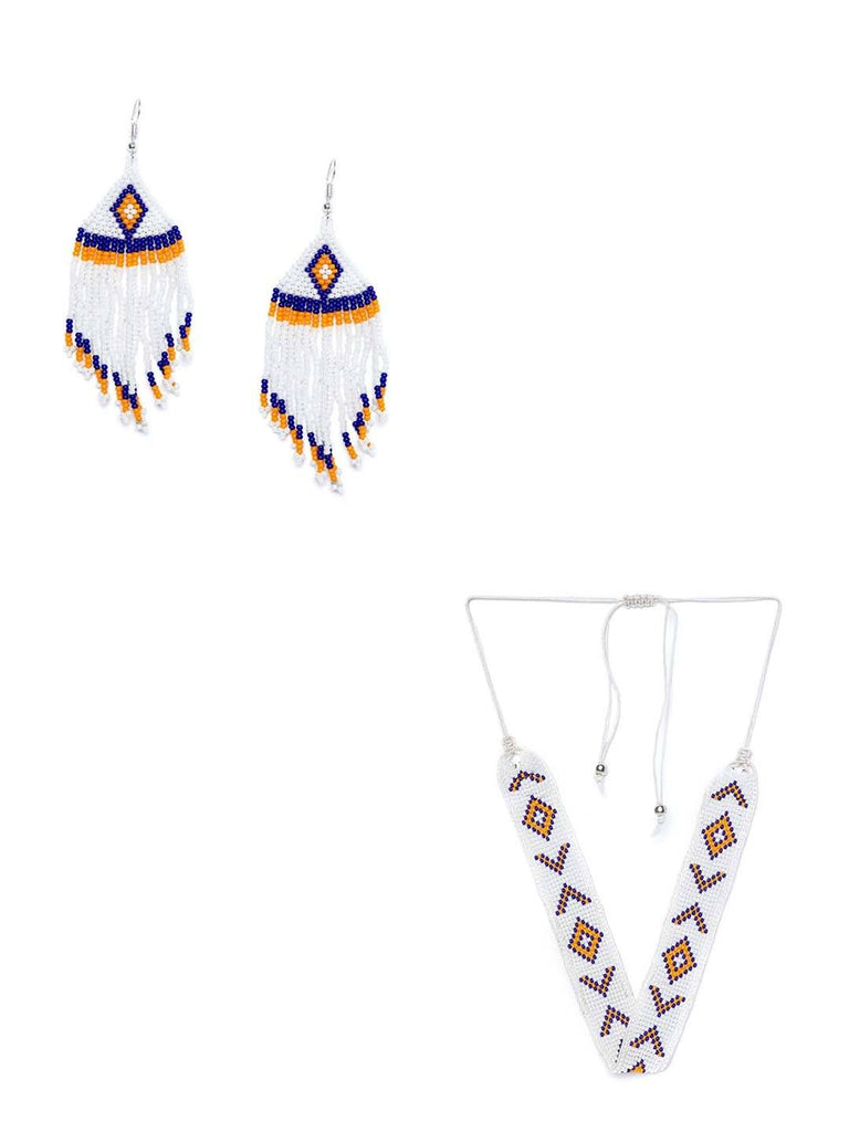 Delicate Tricolored Seed Beads Handmade Jewellery Earrings and Necklace Combo