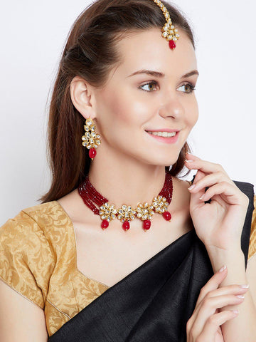 Ethnic Kundan Garnet Jewellery Set