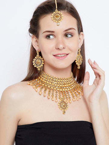 Heavy Stone and Pearl Embellished Golden Choker Jewellery Set for Wedding