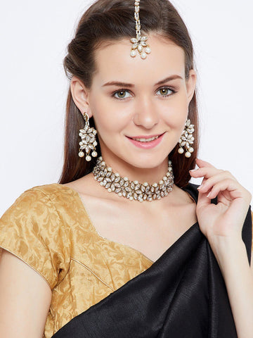 White Pearl Ethnic Jewellery Set