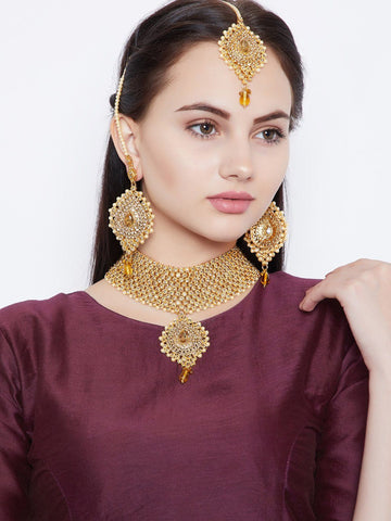 Heavy Golden Studs and Pearl Motifs Embellished Jewellery Set for Wedding