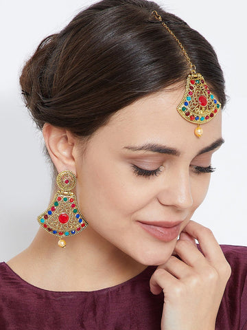 Multicolored Bell Shaped Embellished Jewellery Set