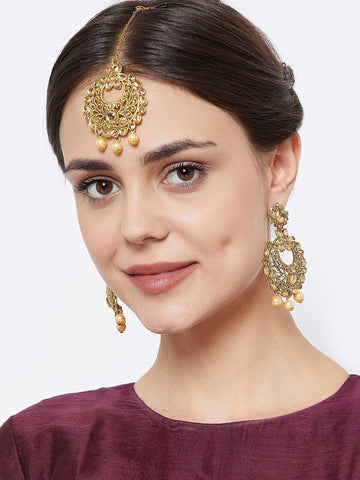 Stone Studded Chandbali Jewellery Set