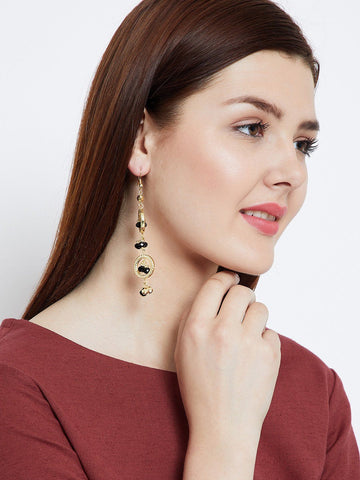 Layered Circles and Black Beads Earrings