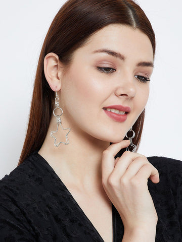 Silver Hoops and Stars Earrings