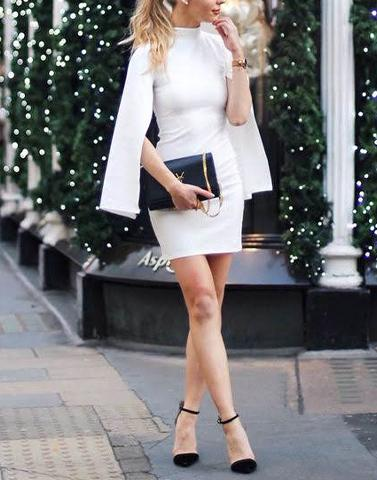 Sleeve Cut White Modish Dress