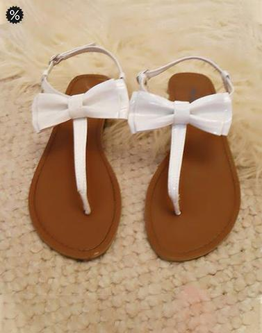 Kitty Bow White Flats